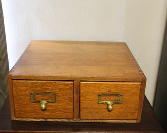Vintage Wood 2 Drawer Library Card Catalog with Brass Pulls and Dovetails