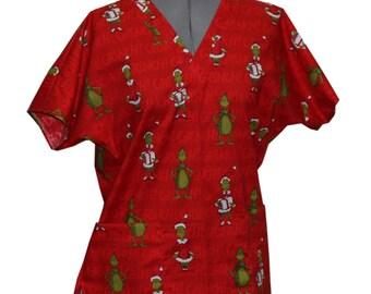 Santa Grinch - Custom Made Scrub Tops Nursing Uniforms