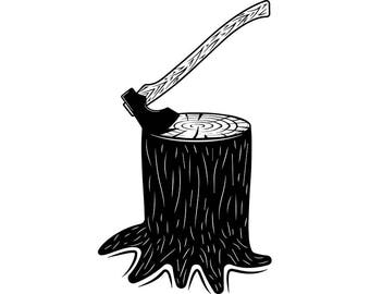 Lumberjack Axe #9 Tool Cut Wood Chop Forest Tree Stump Harvest Timber Weapon .SVG .EPS .PNG Clipart Vector Cricut Cut Cutting Download File