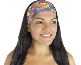 Running Headband Workout Headband Fitness Headband Yoga Headband Autism Awareness Puzzle Headband Wide Headband Women Headband Turban S224