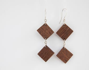 Double Diamond Wood Earrings