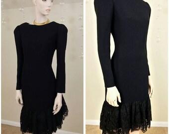 Beautiful Vintage 80s black dress lined