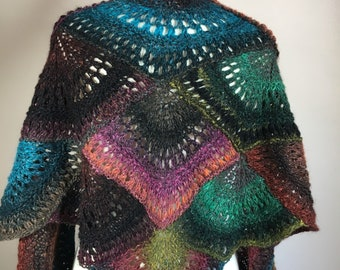 Multicolor shawl, hand knit shawl, medium weight shawl, colorful shawl,