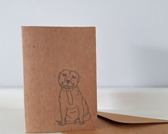 Staffie Greeting Card Set: Mini Kraft Notecards & Envelopes with Staffy / Staffordshire Bull Terrier. Choose from 1 or 5 cards.