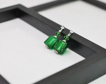 Emerald Green Earrings, Green Glass Earrings, Square Tile Earrings, Green Drop Earrings, Green Earrings, Everyday Earrings,Lampwork Earrings