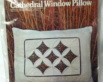 Pillow Kit Cathedral Window Sewing Supply, Vintage 1970's