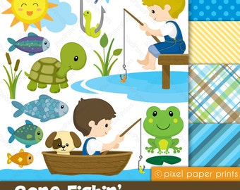 Gone Fishing - Clipart and Digital paper set