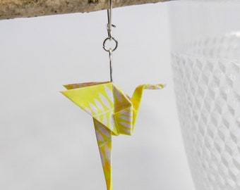 Pink origami Flamingo earrings
