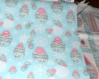 Gift Wrap 6 foot rolls of Shabby Chic Holiday, It's Snowing Babushkas with parasols