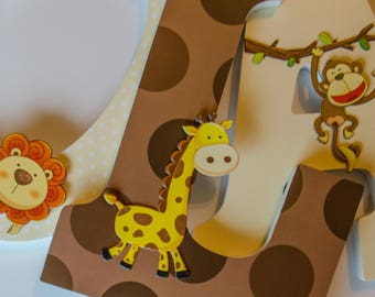 Jungle Animal Wooden Letters, Brown, Light Yellow, Boy or Girl Bedroom