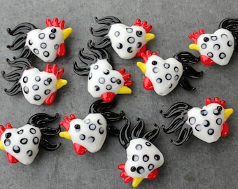 Ten (10) lampwork glass rooster beads - white with black spots- adorable chickens - loose beads- DIY crafts and jewelry making