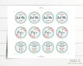 """Vintage Wonderland 2"""" Circle variety pack - including cupcake toppers and thank you tag"""