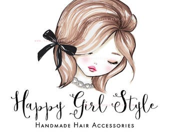 Happy Girl style OOAK Character Illustrated Premade Logo design-Will not be resold