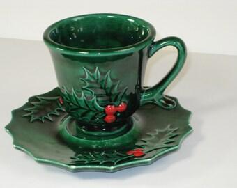 Vintage handmade Christmas ceramic holly teacup and saucer set
