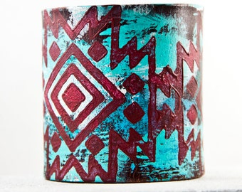 Tribal Bracelet Primitive Jewelry Geometric Native Leather