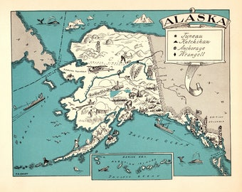 1930's Vintage ALASKA Picture Map of Alaska State Cartoon Map Print Gallery Wall Art Gift for Birthday Wedding Travel Graduation