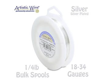 SILVER Artistic Wire Tarnish Resistant Silver Plated Craft Wire - XL 1/4lb Spools (Pick From 18, 20, 22, 24, 26, 28, 30, 32, 34 Gauge)