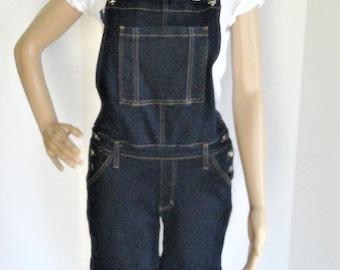 Vintage KANCAN Dungarees Denim Overall Shorts - Size Large