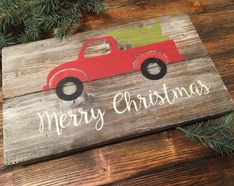 Merry Christmas Red Truck Distressed Wood Wall Sign