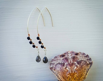 Labradorite and Lapis Bend Earrings