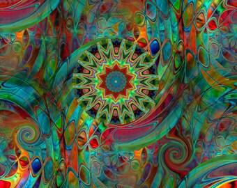 Textile Artist Handmade Vibrant Kaleidoscope Minky Fabric By The Yard Fiber Art Blanket Home Decor Craft