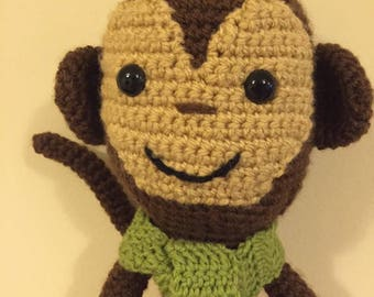 Milo the Monkey Crochet PDF pattern. Cute Monkey Handmade Toy. Monkey with Scarf and Boots.