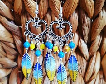 Unique bohemian antique silver patina earrings.