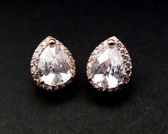 bridal wedding jewelry bridesmaid gift christmas party prom pageant earrings cubic zirconia teardrop halo rose gold stud post or clip on