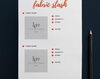 Printable Fabric Stash Organiser in ORANGE (2 to Page) // Fabric Planner //Printable Planner // A4 Size  //Paper // Instant Download