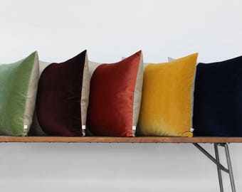 CUSTOM Velvet Colorblock Pillow Cover by JillianReneDecor, Modern Fall Home Decor, Two Tone Color Block Pillow, Velvet and Linen
