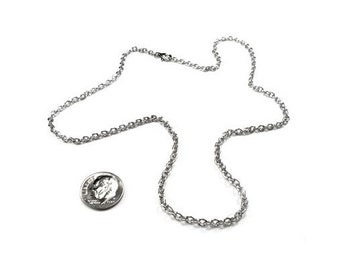 2mm and 3mm Thin Stainless Steel Chain Necklace for Pendants and Charms