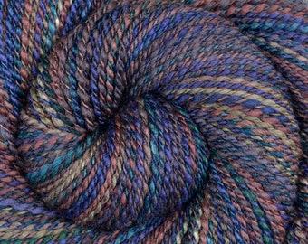 DK Weight Handspun Yarn - CELESTIAL STARDUST - Hand dyed 60/40 Polwarth /Tussah Silk, 250 yards, hand dyed yarn, gift for knitter, hand spun