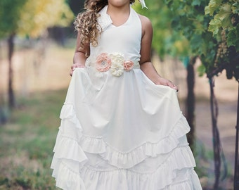 Beach flower girl dress, junior bridesmaid dress, rustic flower girl, bohemian flower girl dress, country flower girl dress,Ivory dress