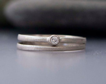 Diamond and White Gold Wedding Ring Set - Tiny 2mm Diamond Engagement Ring and Matching Band in solid 14k white or yellow gold