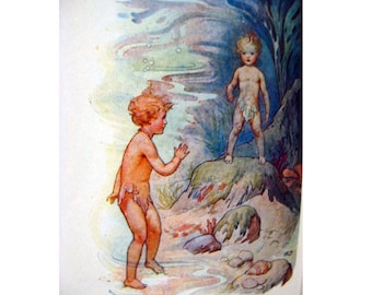 The Water Babies by Charles Kingsley Illustrated by Harry G Theaker - Childrens Books - Illustrated Books - Baby Nursery Decor - Storytime