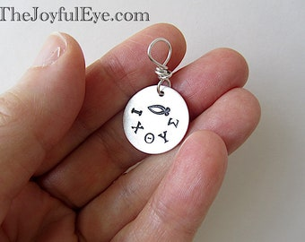 Christian Fish Symbol Charm in Fine Silver. Greek Letters Hand Stamped Inspirational Jewelry.