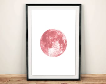 Moon, Moon Print, Moon Poster, Pink Moon, Pink Print, Pink Poster, Girls Room Decor, Minimalist Wall Art, Instant Download, Moon Printable
