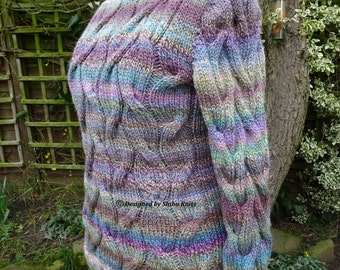 Chunky Sweater, Womens Cable Sweater, Large Size Sweater, Handknitted Sweater, Multicoloured Sweater, Womens Knitwear, Handknitted Jumper