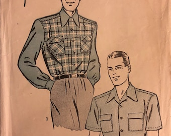 "VTG 3968 Advance (1940's).  Mens' Shirts.  Size Medium, Neck 15"" to 15-1/2"".  Complete, unused, FF. Excellent condition."