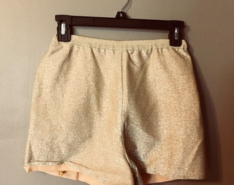 Vintage 60s Gold Lame Shorts / Vintage Gold Hot Pants / 60s Gold Hot Pants / Vintage Gold Shorts