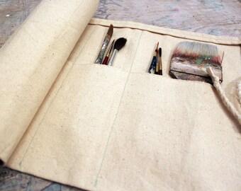 Canvas Paint Brush Carrier Case Handmade