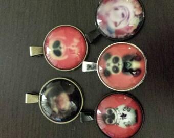 5 defective glass cabochon pendants  destash  clearance #p16