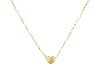 Tiny Gold Heart Necklace, Dainty Gold Necklace, Simple Necklace, Minimalist Necklace, Bridesmaid Gift, Rose Gold Necklace, Gift for Mom