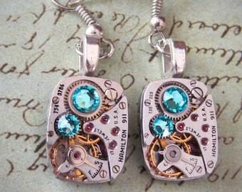 Steampunk ear gear - Turquoise - Steampunk Earrings - Hamilton - Vintage handmade watch parts jewelry