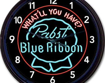 Beer,Pabst, Pabst Blue Ribbon, PBR, Beer, Wall Clock, Retro Style Sign, Milwaukee, Wisconsin, What'll You Have?', Bar Decor, Man Cave, New