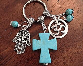 Hamsa Keychain, Christian Keychain, Keychain, OM Keychain, Yoga keychain, Cowgirl Keychain, Turquoise Cross Keychain Hamsa Hand Keychain