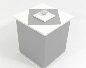 TEA - silver and white box