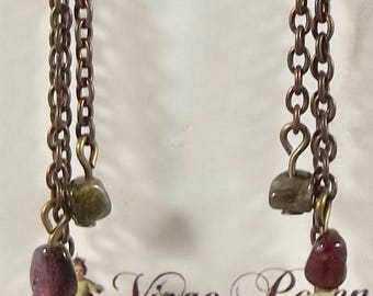 Miraculous Medal earrings with Tourmaline Beads