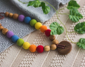Gift - Double Rainbow Teething Necklace for Mom / Wood Nursing Necklaces / Breastfeeding Mama & Babywearing Accessories