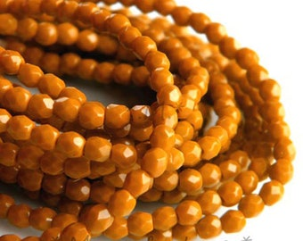 3mm (200pc) caramel, Terra cotta, Czech glass bead, Czech glass faceted glass beads